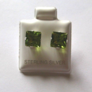7mm square Princess cut Peridot Cubic Zirconia Sterling silver Stud earrings